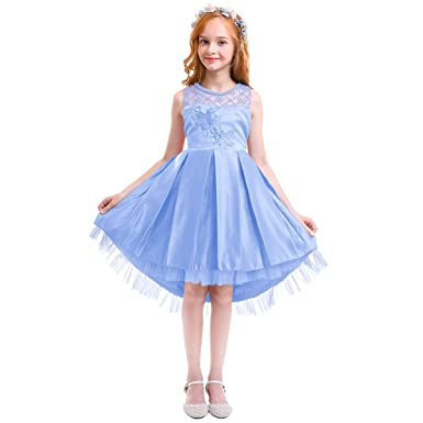f6fe9e8d0660 Little/Big Girls Vintage Beaded Party Pageant Princess Wedding Bridesmaid  Evening Flower Maxi High Low