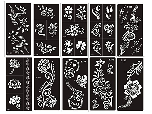 10 fogli Mehndi Tattoo Stencil Mehndi Tatuaggi all'hennè Set Flowers - Usa e getta - Per Tatuaggio all'henné, scintillio tatuaggio e airbrush tatuaggio Tie Set Blumig