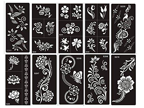Henna Tattoo Schablonen 10 Sheets Set Flowers zur einmaligen Verwendung für Körper auch für Glitter Tattoo und Air Brush Tattoo geeignet Beyond Set Blumig