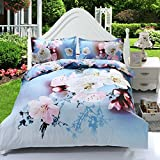 Suncloris,4pcs Queen Size Duvet Cover Set,3d Elegant Cherry Blossom Bedding Set Comforters Duvet Cover Quilt Bed Linen Sheet Bedspread