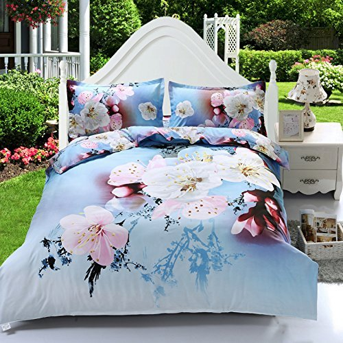 Blossom Set Bedding - Suncloris,3d Elegant Cherry Blossom,Queen Size,4pc Bedding Sheet Sets,1 Duvet Cover,1 Flat Sheet,2 Pillowcase(no Comforter inside)