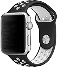 Correa Deportiva Extensible Sport Banda Silicon de Uso Rudo para Apple Watch 38mm 42mm Generico iwatch serie 1 2 3 nike (NEGRO/BLANCO, 42MM)