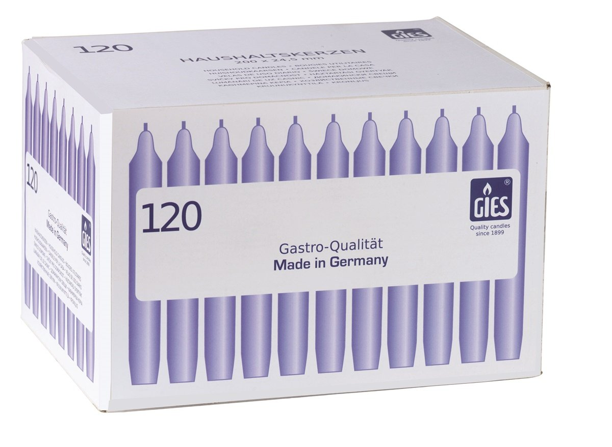 Gies 205-169000-10 Carton de 120 bougies chandelles Blanc 200 x 24, 5 mm