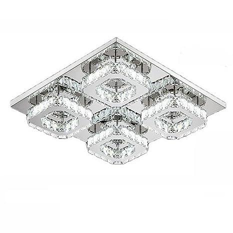 WYBAN 48W Cuadrado LED Lámpara de techo de cristal moderno de techo de luz para dormitorio, sala de estar y pasillo (48W Blanco Frío)