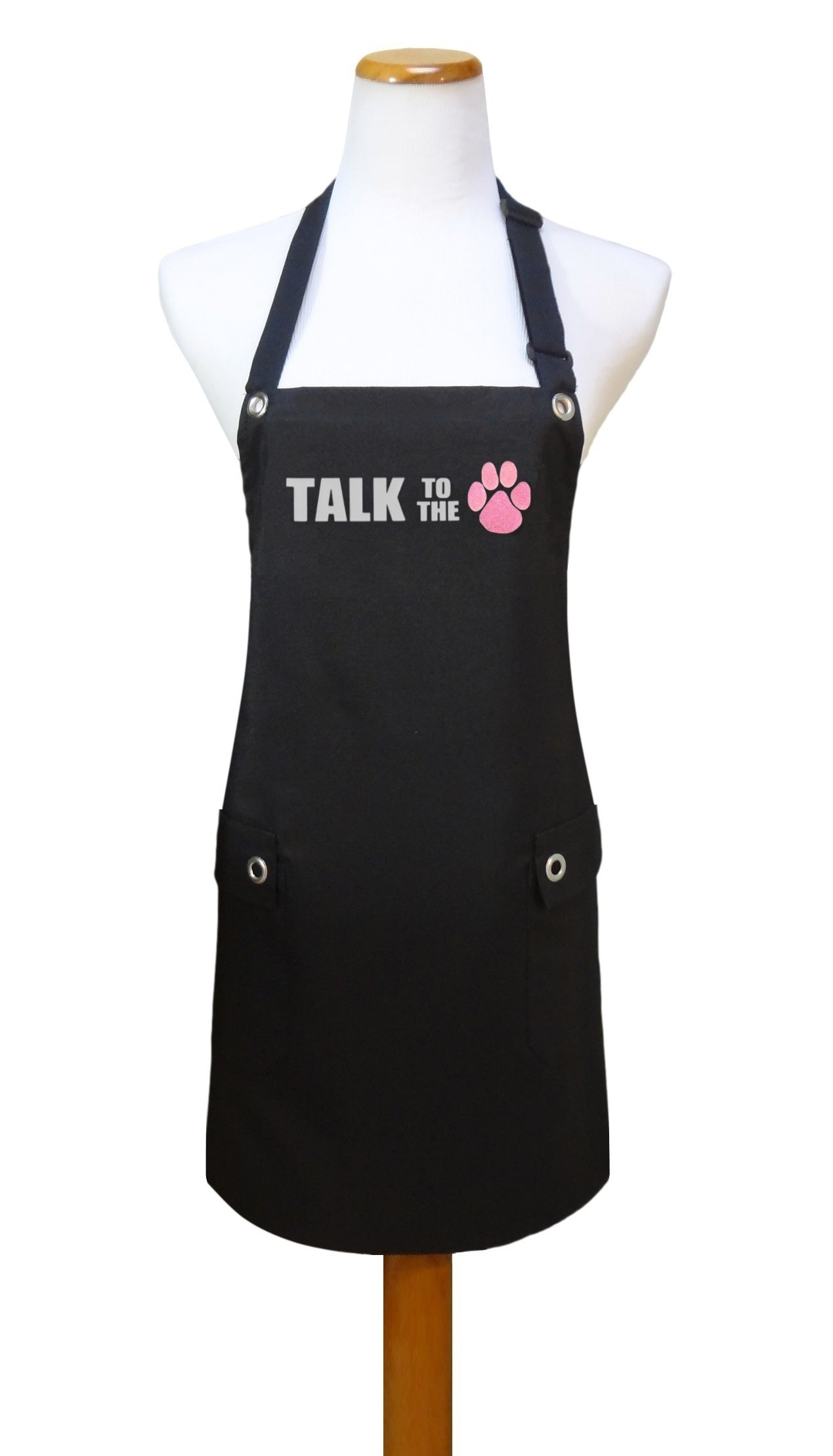 Trendy Salon Aprons Waterproof Dog Groomers Grooming Pet Salon Apron, Talk to the Paw (Pink, Talk to the (paw print))