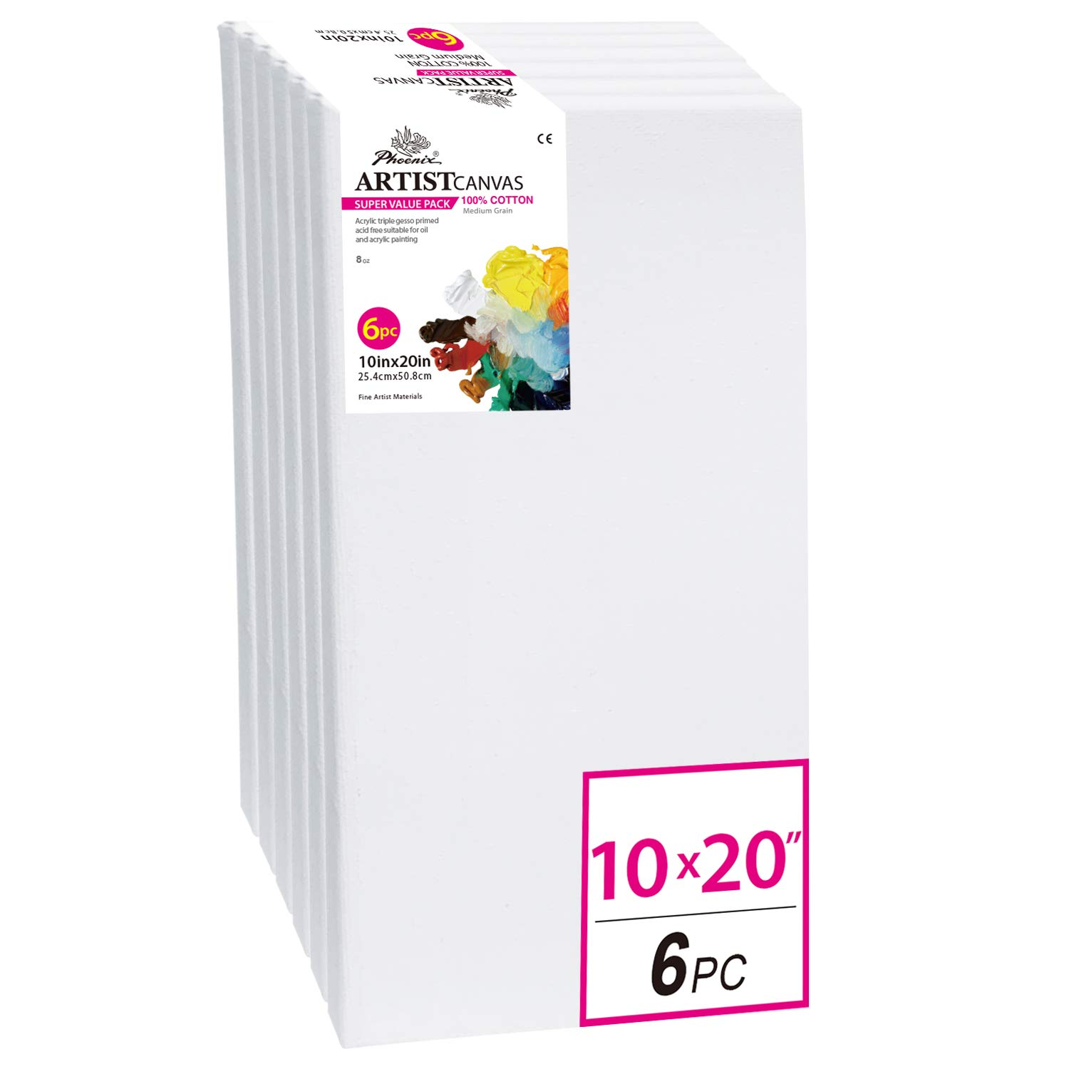 PHOENIX White Blank Cotton Stretched Canvas Artist Painting - 10x20 Inch / 6 Pack - 5/8 Inch Profile Triple Primed for Oil & Acrylic Paints