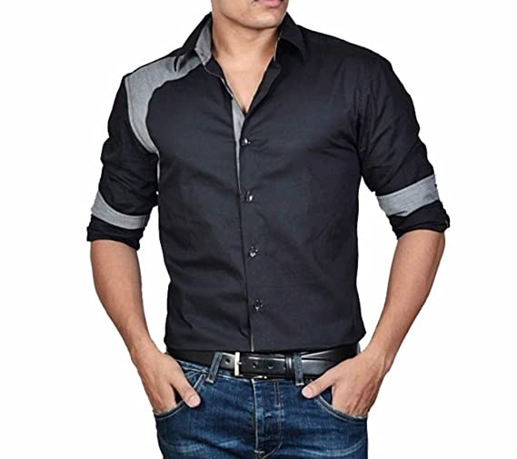 dazzio Men's Slim Fit Cotton Shirt Men's Casual Shirts at amazon
