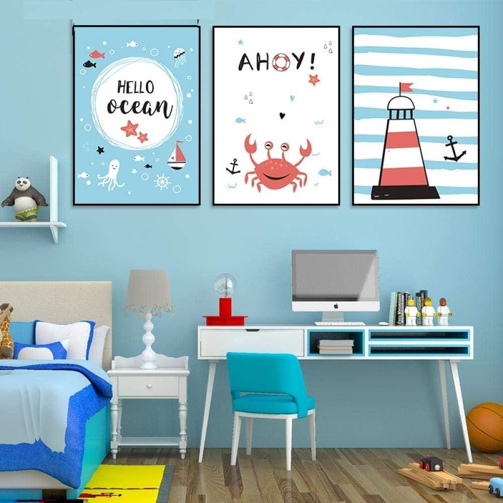SHINERING Poster e Stampe su Tela Pittura Faro Cartoon Vita Marina Sea Wall Art Stile Nordico Decorazioni per Bambini Baby Room Immagini di vivai