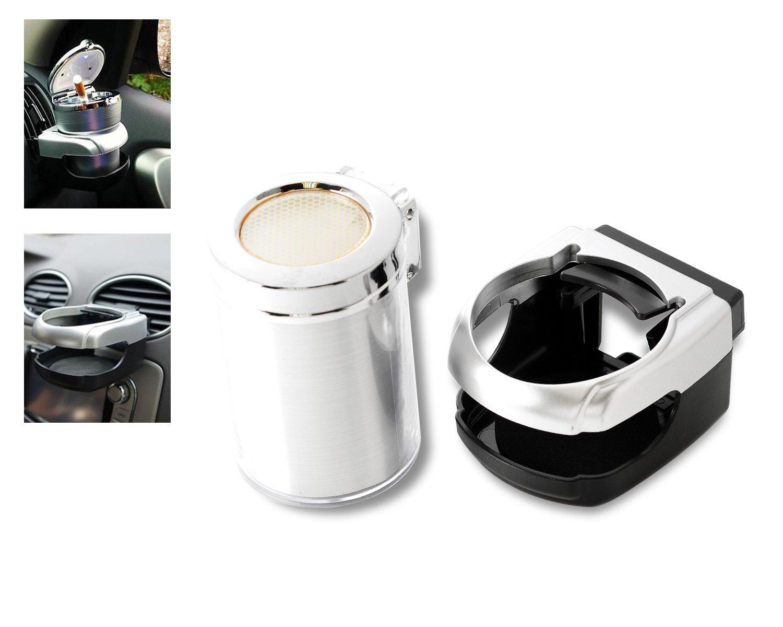Dsstyles auto posacenere supporto set con luce LED e portabicchiere universale portatile posacenere