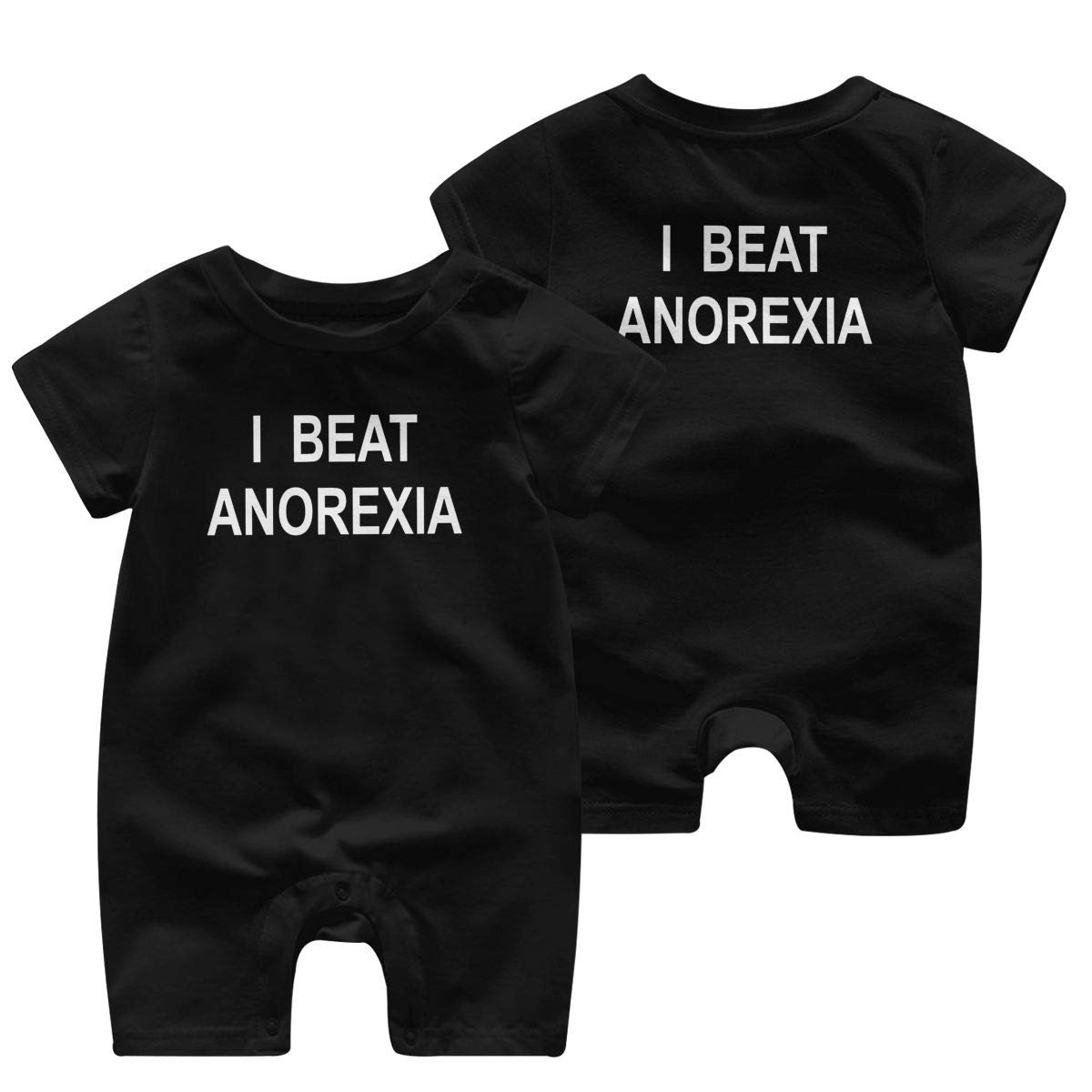 I Beat Anorexia Romper Short Sleeve Basic Romper Coveralls Solid Color Double Sides Print Baby Boy//Girl Playsuit Jumpsuits