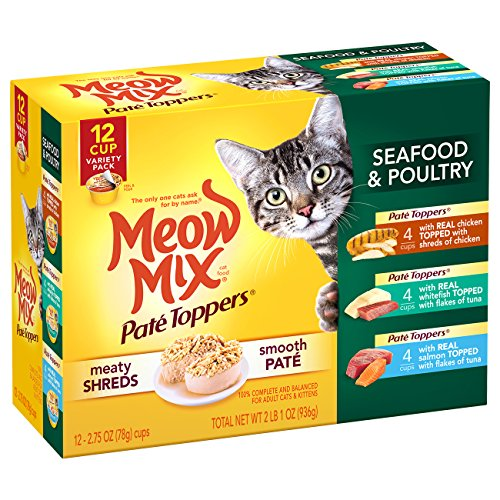 Flake Mix - Meow Mix Pate Toppers Seafood and Poultry Variety Pack Wet Cat Food, 2.75 oz, 12 count
