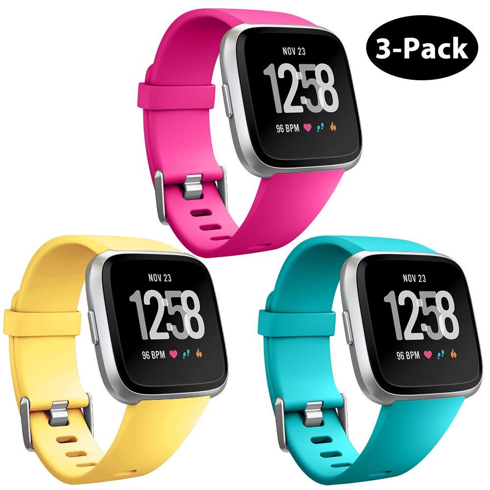 Repuesto Mallas De Reloj Fitbit Versa Y Fitbit Versa Lite (3 Unidades, celeste, rosa, amarillo) Talle S