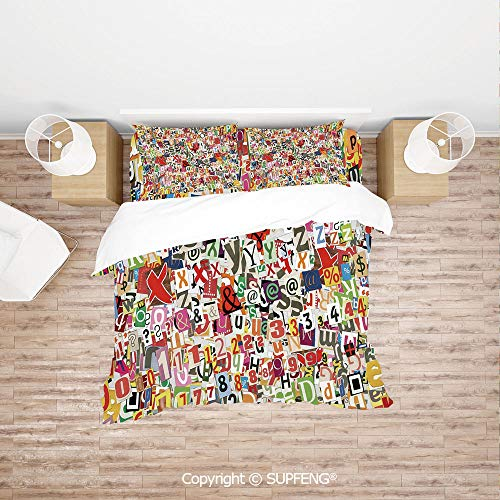 SCOXIXI 3D Duvet Cover Bedding Sets Various Kinds of Newpaper Magazine Letters Cutouts Alphabet Collection Decorative (Comforter Not Included) Soft, Breathable, Hypoallergenic, Fade Resistant