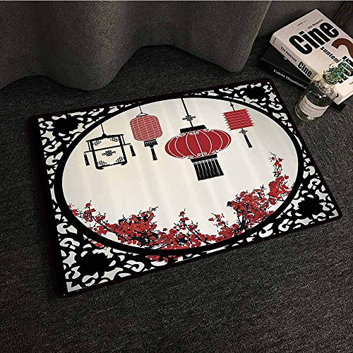 Lantern Decor Front Door Mat Large Outdoor Indoor Lanterns with Japanese Sakura Cherry Blossom Trees and Round Ornate Figure Graphic All Season General W16 xL24 Red Beige Black ()