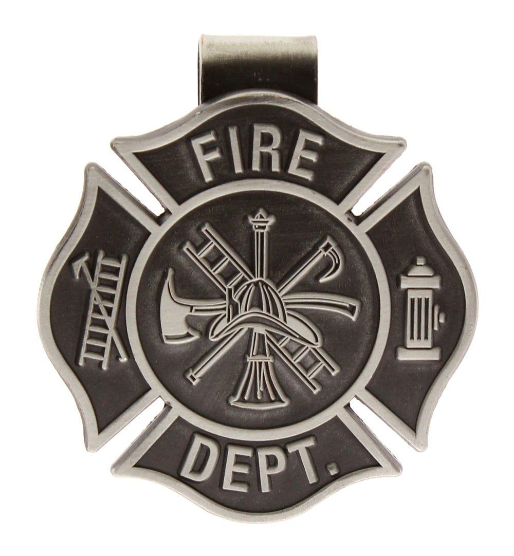 Firefighters Visor Clip Cross Pewter, Fireman Visor Clips Sterling Gifts 2591