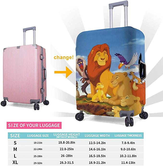 Lion King Simba Travel Luggage Cover Suitcase Protector Fits 26-28 Inch Washable Baggage Covers