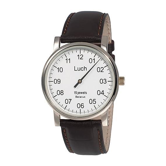 Reloj de pulsera de una manecilla, de la marca LuchEsfera de color blanco.Nitruro de circonio. 337477760.: Amazon.es: Relojes