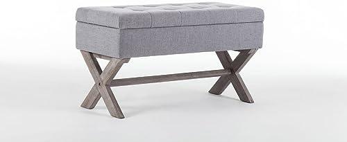 Boraam Angelina Upholstered Storage Bench, Grey