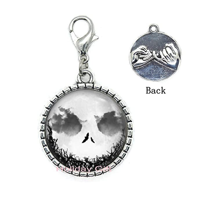 Holiday gift Christmas Necklace,Jack Skellington Moon Pendant,Wedding Gifts,Art Gifts for Her,for him.HTY-320