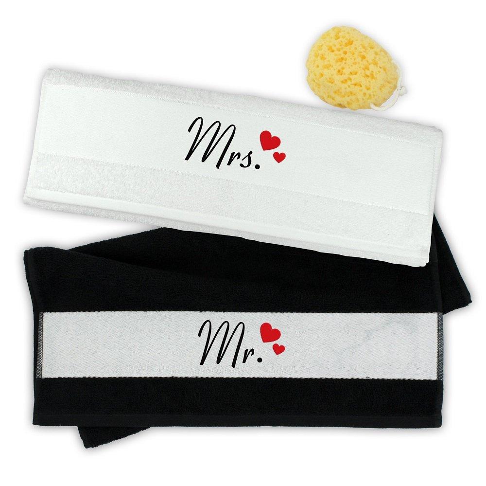 4you Design Duschtuch Set 70x140 cm Mr. & Mrs. mit Herzen - Hochzeitsgeschenk (schwarz weiß) B00XXTBRIE Duschtücher