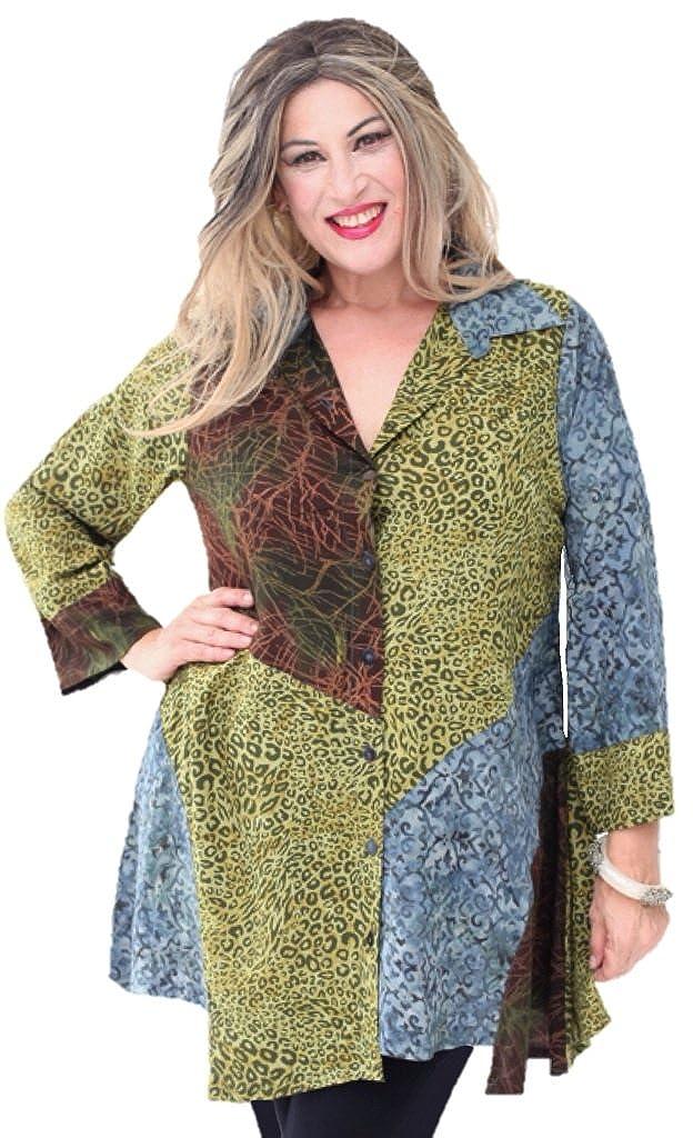 LOTUSTRADERS Blouse Top Patch Button Batik Art Q712