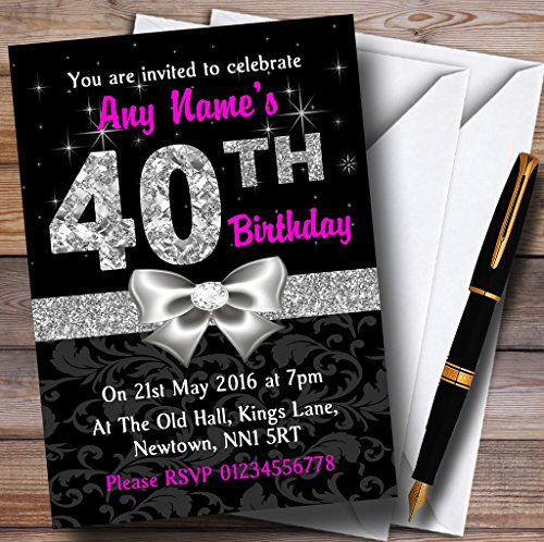 Pink Black Silver Diamond 40Th Birthday Party Personalized Invitations