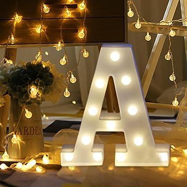 Light Up Letters,SMYTShop Warm White LED Letter Light Up Alphabet Letter Lights for Festival Decorative Letter Party Wedding (A)