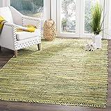 Safavieh Rag Rug Collection RAR127D Hand Woven Light Green and Multi Cotton Area Rug (8′ x 10′) For Sale