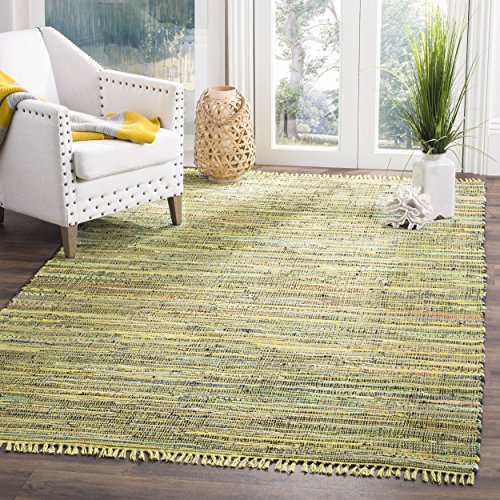 Safavieh Rag Rug Collection RAR127D Hand Woven Light Green and Multi Cotton Area Rug (3' x -