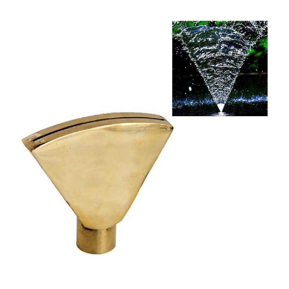 NAVAdeal 1'' DN25 Brass Wide Fan Shaped Water Fountain Nozzle Garden Spray Pond Sprinkler Head