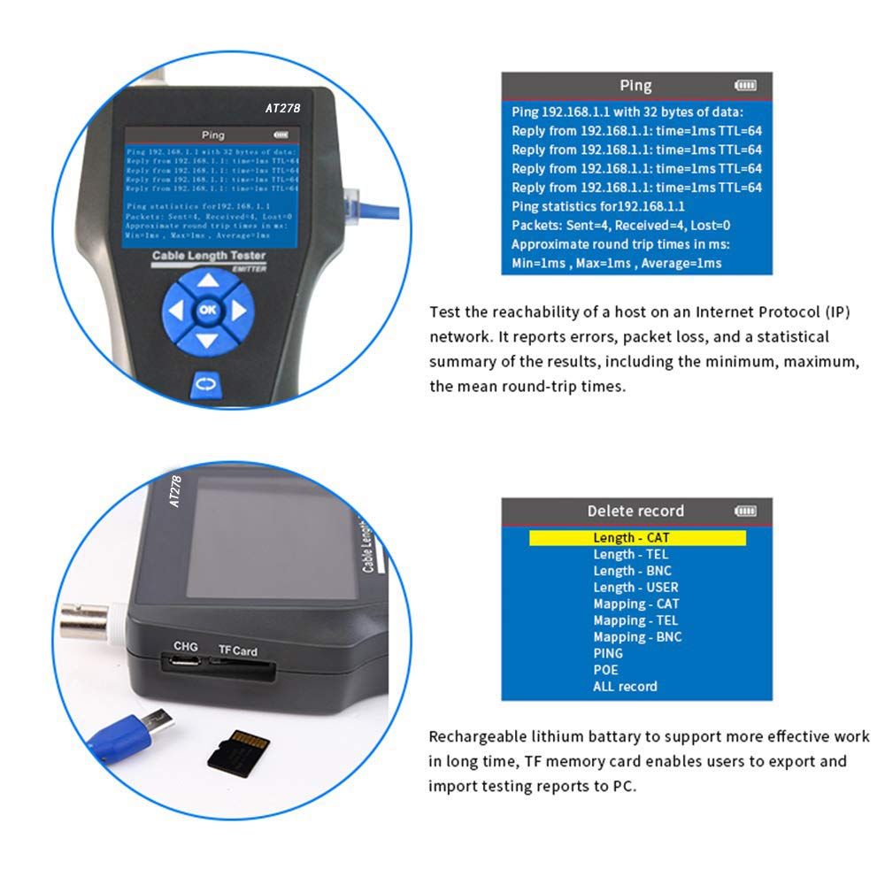 NF-8601S TDR Multifuncional LCD Line Length Tester Breakpoint Testers Tracker RJ45//RJ11//BNC//Metal Cable//PING//POE Cable KOLSOL comprobadores de cables de red