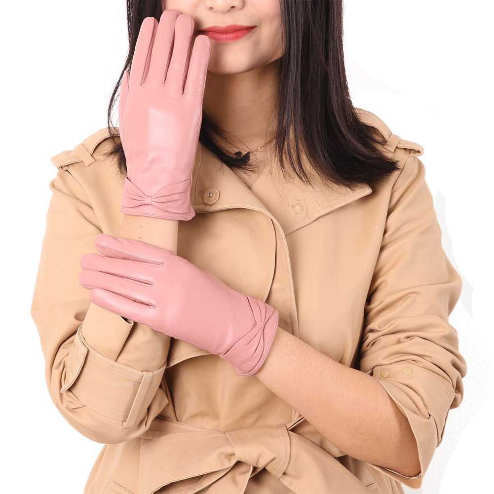 Leather Winter Gloves for Women, Color Inchoice Warm Outdoor Waterproof Luxury Gift Gloves(Pink)