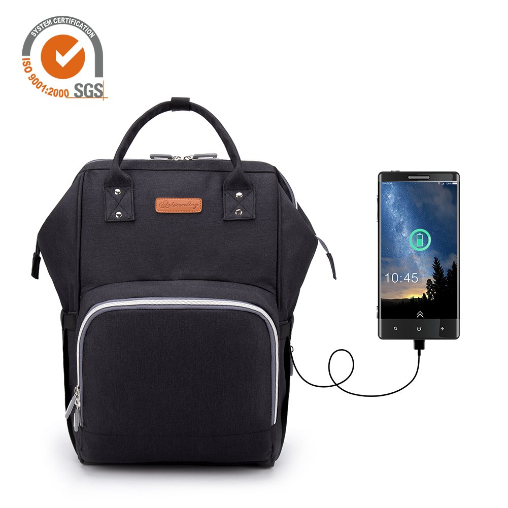 Mochila de pañales actualizada con función de carga USB, multifuncional y de gran capacidad, bolsa organizadora de viaje, impermeable, bolsa de pañales gris gris PROKTH