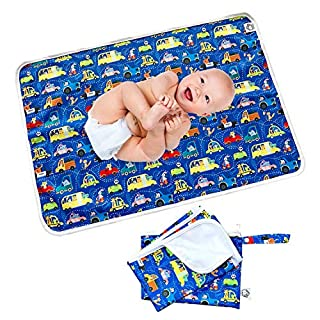 "Flockthree Waterproof Baby Changing Pad with Storage Bag (28.7"" X 19.7"") Washable Wipeable Reusable Leak Proof Diaper Travel Mat Station Changing Mattress Liner Cribs Bed Cover, Cars"