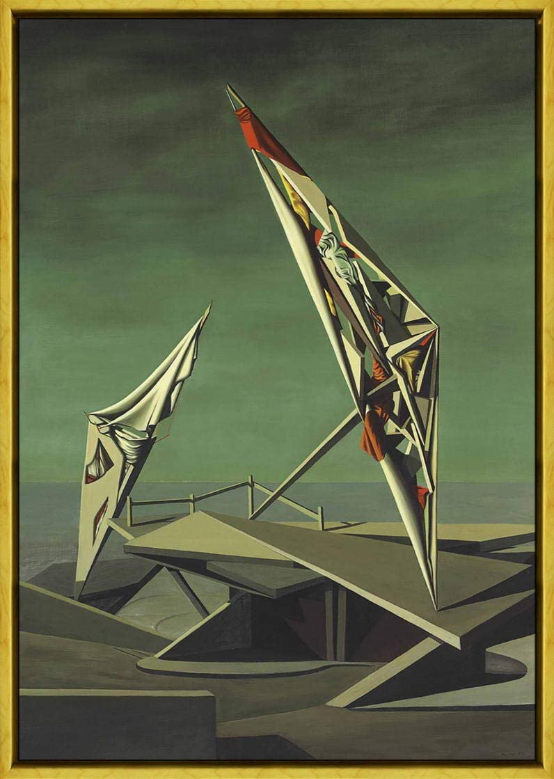 Berkin Arts Kay Sage Framed Giclee Print On Canvas-Famous Paintings Fine Art Poster-Reproduction Wall Decor(Ring of Iron Ring of Wool)#XLK