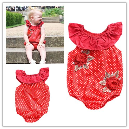 Fheaven Newborn Baby Girls Clothes Sunsuit Ruffles Sleeveless Romper Big Floral Dot Playsuit Outfits (Red, 24M) (Playsuit Velour)