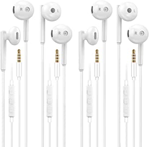 Headphones, 4Pack Quality Earphones with 3.5mm Wired in-Ear Headphones Wired Earbud with Microphone Compatible with iPhone and Android Smartphones