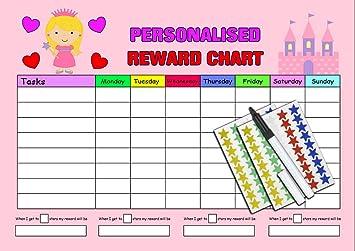 Kids2learn Girls Pink Princess Reusable Sticker Reward Chart Magnetic Option Amazon Co Uk Toys Games