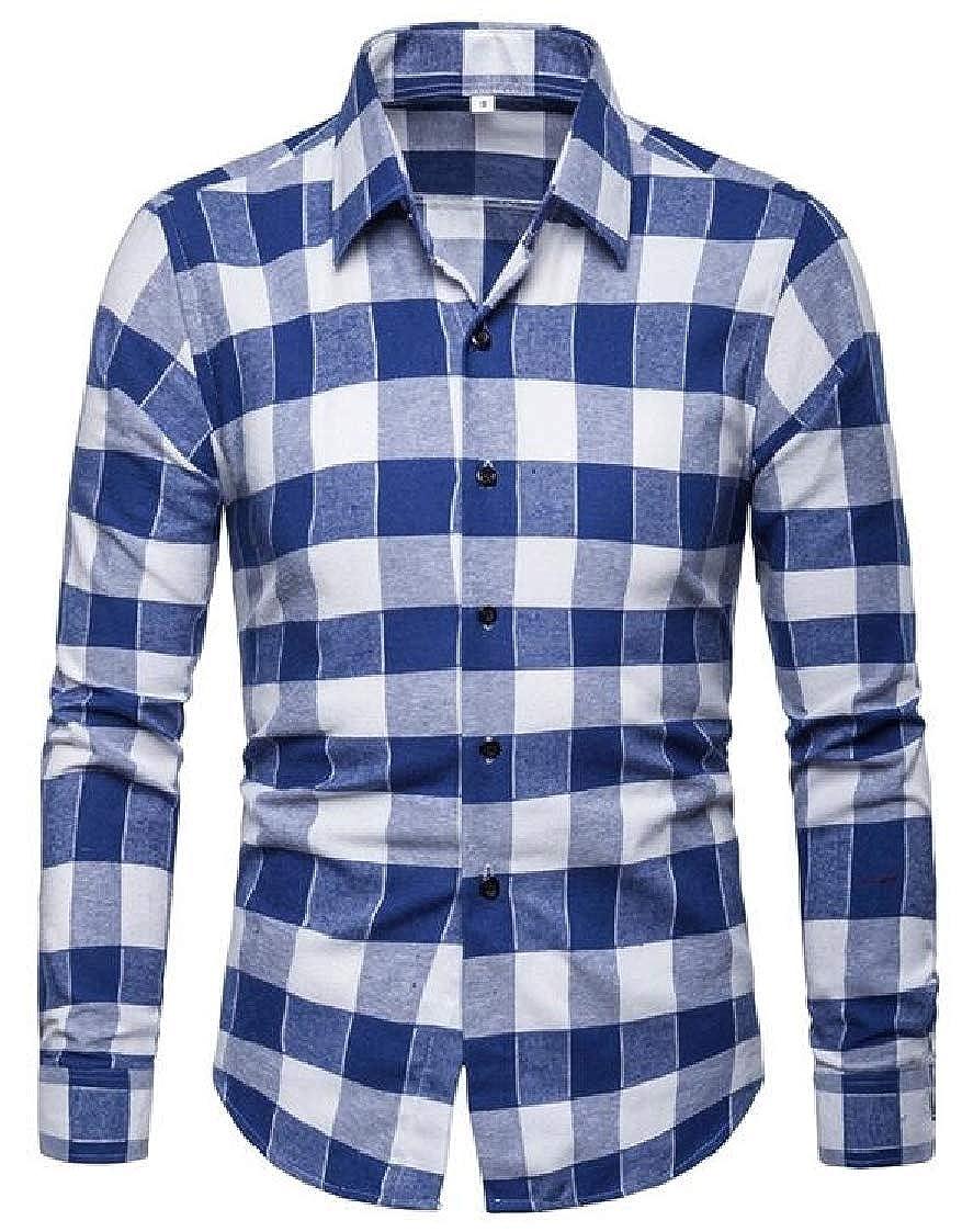 Nanquan Men Cotton Plaid Print Casual Loose-fit Button Up Long Sleeve Shirts