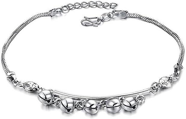 Aruie Bijoux Bracelet de Cheville Clochette Grelot Cha/îne de Cheville Pieds Plaqu/é Platine Cuivre Bijoux Fantaisie Cadeau No/ël Anniversaire Femme Fille