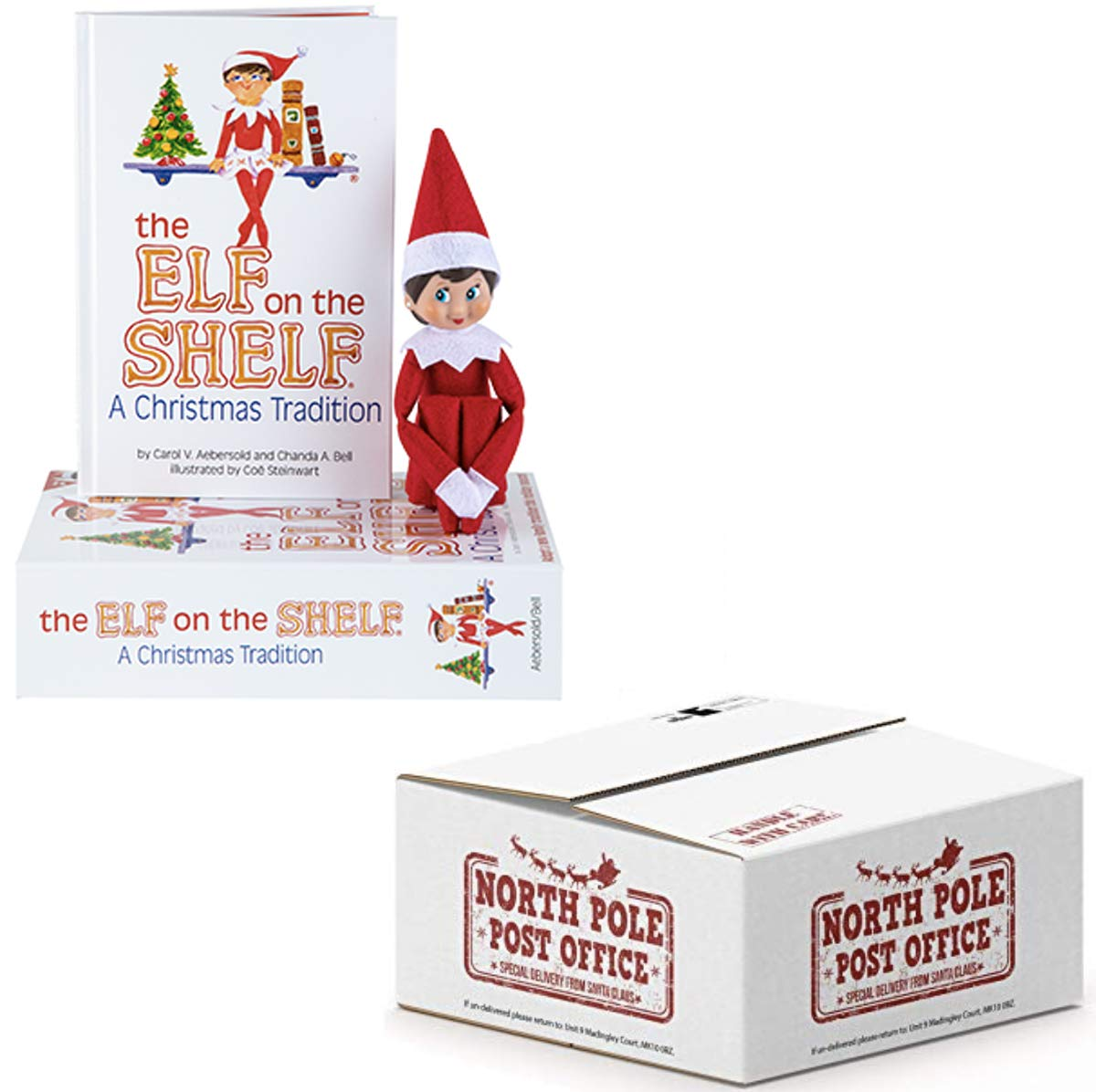The Elf on the Shelf Christmas Tradition | Elf on the Shelf Girl, Light Tone, Blue Eyes | with Exclusive North Pole Mailing Box