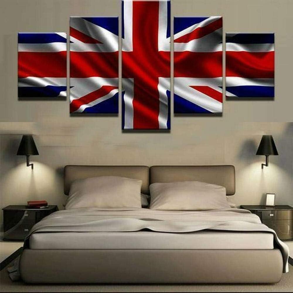 GSDFSD Ondeando la Bandera británica Pintura sobre Lienzo (150 x 80 cm),5 Piezas XXL Diseño Natural para decoración de Paredes,Sin Marco