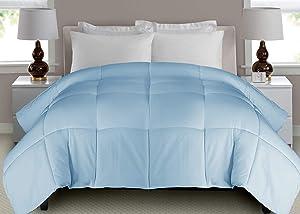 Blue Ridge Home Fashions Microfiber White Down Fiber Comforter, Twin, Pale Blue