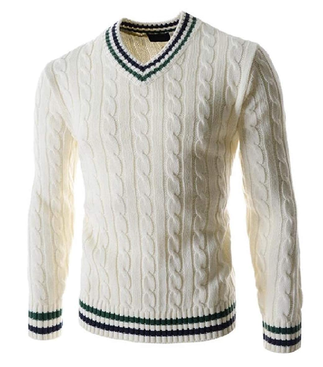Tootless-Men Marled Cable Pullover Outwear Long-Sleeve Knitted V Neck Knitting Sweaters