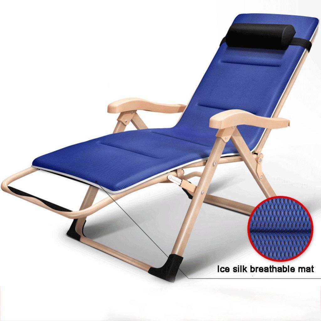 ベンチ 折りたたみチェア、レジャー屋外ビーチリクライニング、ホームランチブレイク調節可能なチェアL180cm * W60cm * H115cm(シルバー、イエロー) (A++) (色 : 青) B07DHJSBQ9  青