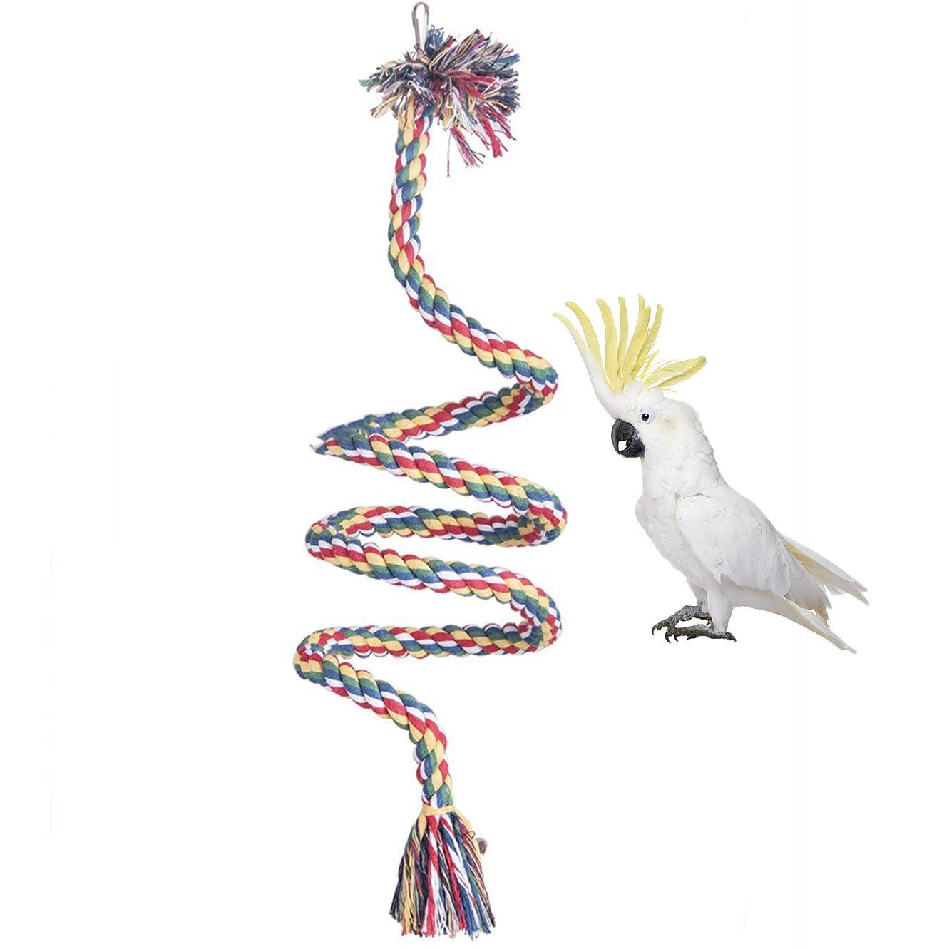fringuelli parrocchetti posatoio masticabile cacatua pappagallini verdi africani; giocattolo per gabbia giocattolo per pappagalli Corda di cotone per uccelli a spirale colorata conuri altalena con campanelle pappagallini