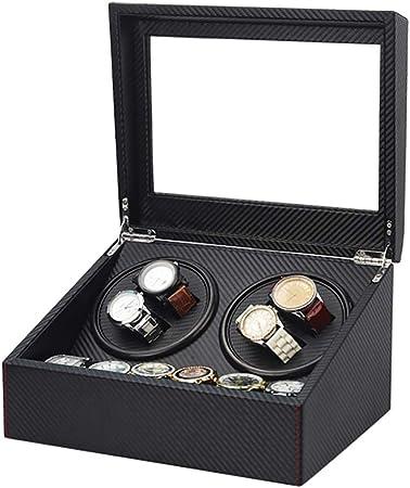 Cajas giratorias Caja enrolladora de reloj automático de fibra de carbono negra para 4 relojes de pulsera + 6 estuche de almacenamiento, motor japonés mudo, estuche de almacenamiento de rotación: Amazon.es: Hogar