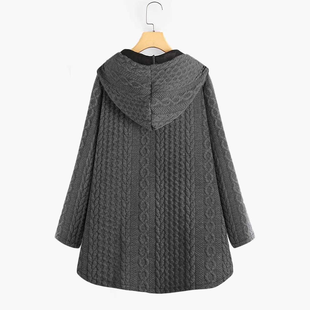 Oasisocean Womens Ugly Christmas Hoodie Winter Warm Fleece Fuzzy Hooded Sweatshirt Oversized Loose Button Overcoat