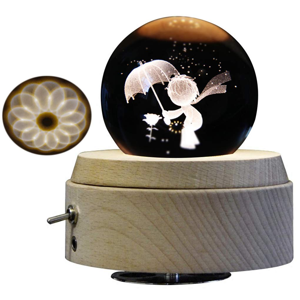 Amperer 3D Crystal Ball Music Box Little Prince Luminous Rotating Musical Box with Projection LED Light and Wood Base Best Gift for Birthday Christmas (A4 Little Prince)