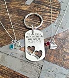 These girls stole my heart they call me daddy keychain and daughter necklace set handstamped necklace set Fathers Day Gift from daughters